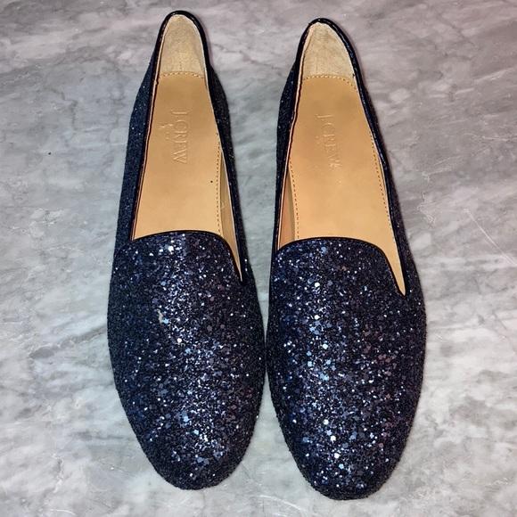 J. Crew navy blue glitter smoking shoe size 10
